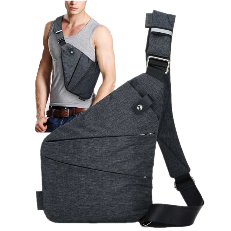 Digital Storage Gun Bag Men's Canvas Chest Bag Messenger Multi-functional Business Close Fitting One Shoulder Anti-theft Bag