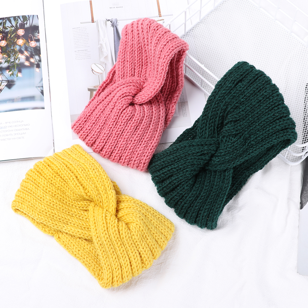 Crochet Knitting Woolen Headbands Winter Women Bohemia Weaving Cross Headbands Handmade Hairband New Solid KnitteWarm Hair Wrap