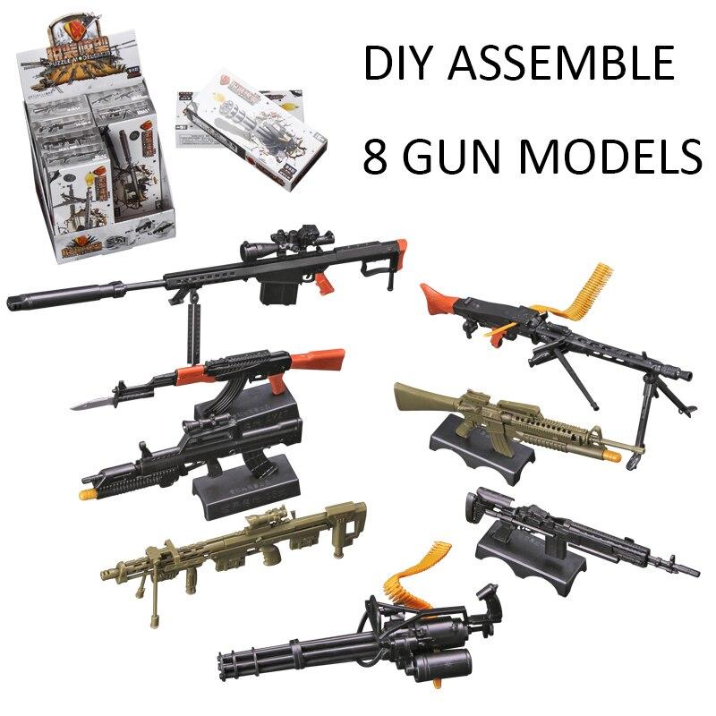 8Pcs/set 1:6 4D Gun Model Plastic Assembling Firearms AK47 MG42 Machine Gun M16 Rifle Submachine Guns Classic Assemble Toy