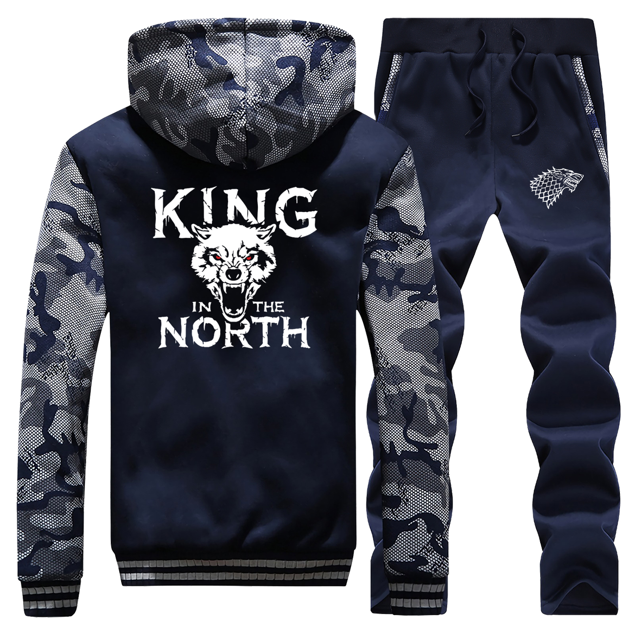 King In The North Thick Hoodie Winter Men's Warm Sweatshirt+Pants 2 Piece Sets Game Of Thrones Zip Hoodies Men Fashion Tracksuit