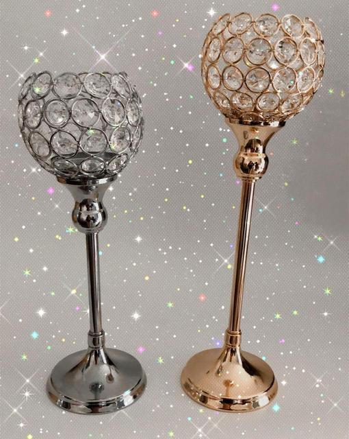 Crystal Tealight Candle Holders Metal Glass Candlesticks Wedding Table Centerpiece Party Christmas Home Decoration 5