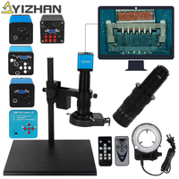 HDMI VGA Industrial Microscope Camera 16MP 720P/1080P 60F/S LED Ring Light 180X C mount lens Jewelry repair Phone chip repair