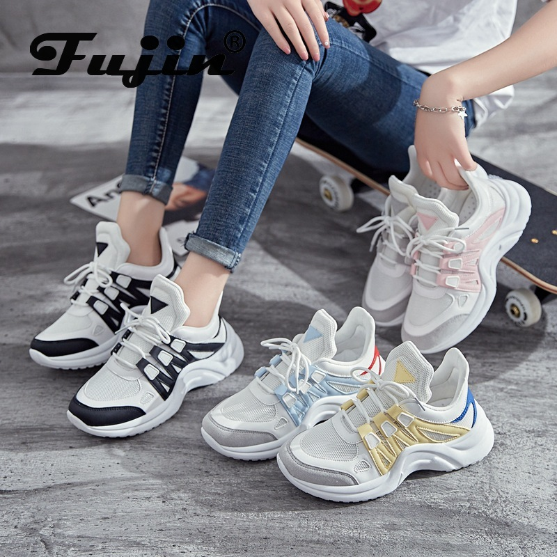 Fujin Women Shoes 2020 New Fashion Tenis Feminino Light Breathable Mesh White Shoes Woman Casual Shoes Women Sneakers