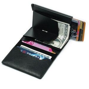 Image 3 - Männer der Kreditkarte Halter Foto Gravur Anti RFID Blocking PU Kleine Brieftasche ID Karte Fall Metall Schutz Geldbörse Portomonee