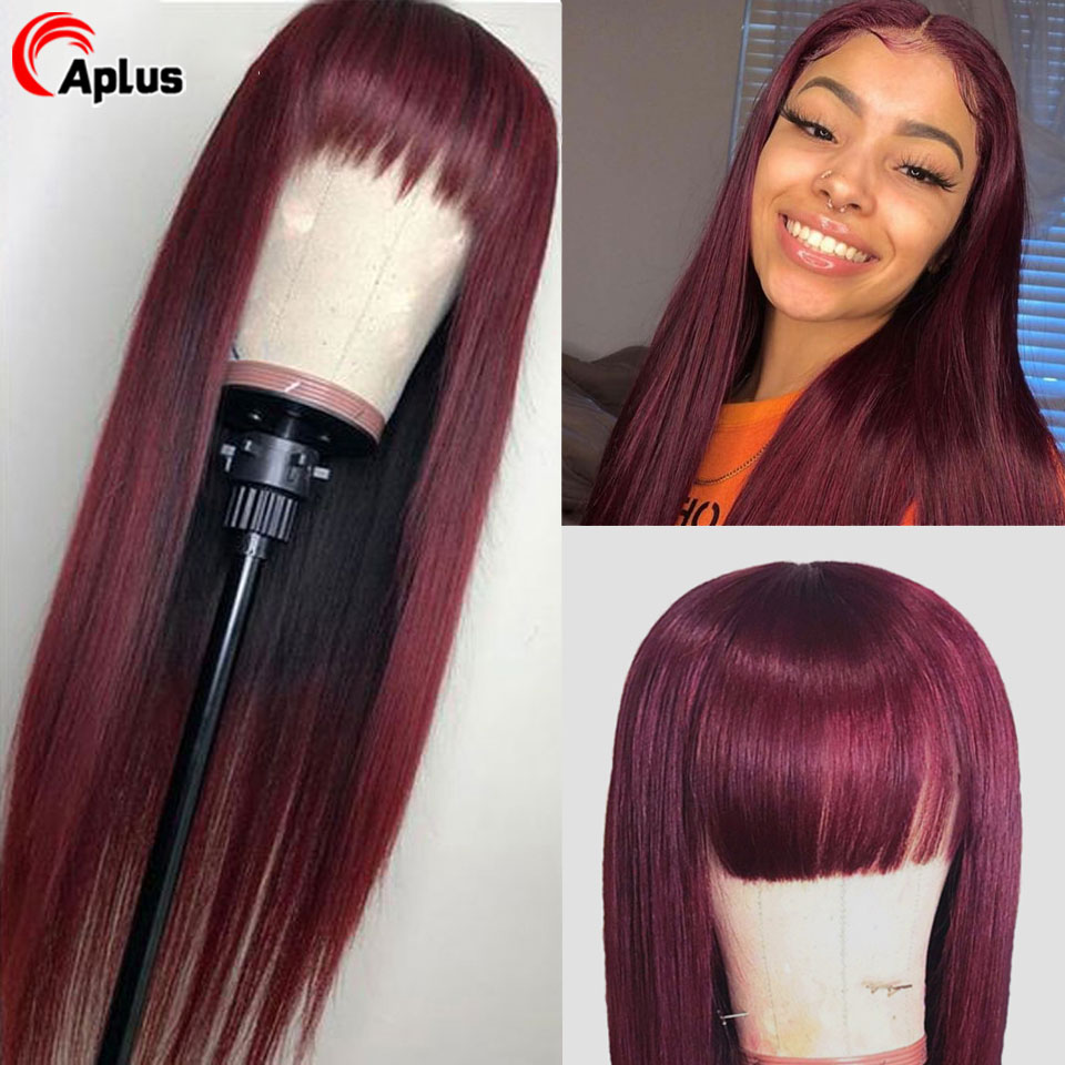 99J Wig With Bangs 13x4 Straight Lace Front Human Hair Wigs Pre Plucked Ombre Burgundy Red Peruvian Lace Wigs For Black Women