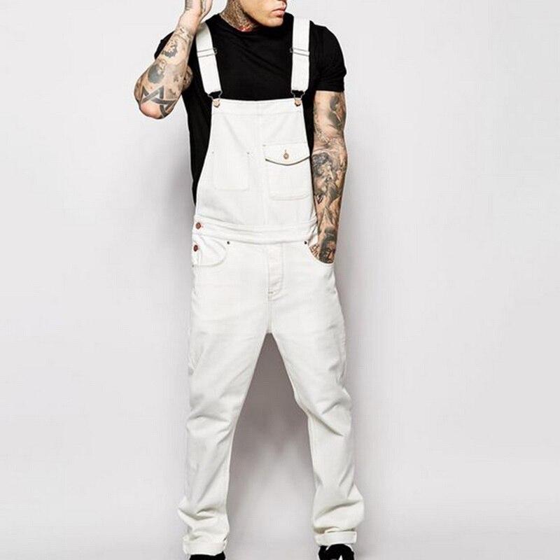 CYSINCOS Men Denim Black Bib Overalls Jumpsuits Male Casual Moto Biker Jeans Long Pants Trousers Plus Size Suspender Trousers