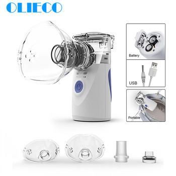Mini przenośny przenośny inhalator siatkowy cichy ultradźwiękowy medyczny inhalator do gotowania na parze dla dorosłych dzieci akumulator Respirator nawilżacz tanie i dobre opinie OLIECO WHQL290 120KHz Battery 2x AA(not included) USB Charging Higher then 0 2ml min 4 5*4 5*10cm 0 5-5 Micron Gray Blue