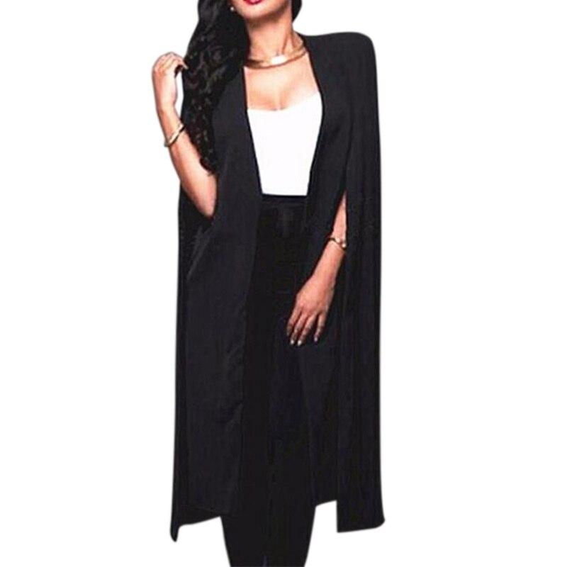 Women Long Blazer Coat Cloak Cape Fashion Black White Personality Notched Neck Lapel Split Jacket Suits Workwear Feminino Blazer