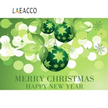 Laeacco Merry Christmas Happy New Year Green Polka Dots Ball Dreamy Party Decor Baby Photo Backgrounds Photographic Backdrops