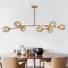 Винтажная люстра в стиле лофт, Современная потолочная лампа в скандинавском стиле, для столовой, кухни, черного/золотого цвета, подвесной светильник