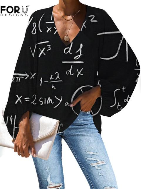 FORUDESIGNS Women Blouse Vogue Style 3D Math Formula Print Blouse V-Neck Long-sleeved Work Batwing Sleeve Loose Shirt 5