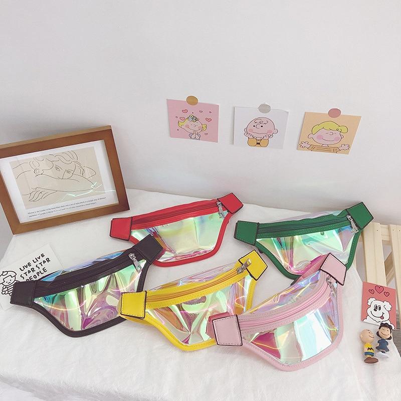 Children Leather Waist Bag 2020 New Laser Chest Bag Kids Girl Red Fanny Pack Boy Belt Bag Holographic Purse Fanny Packs