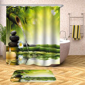 Zen zasłona prysznicowa dekoracja łazienki 3D bambus płynącą wodą zielony bambus budda zasłona prysznicowa wodoodporna zasłona pleśni tanie i dobre opinie CN (pochodzenie) Poliester Amerykański styl cartoon Ekologiczne Other T16YL011 W150cm*L180cm W180cm*L200cm 350~400g Use as bathroom curtain window pannel or door