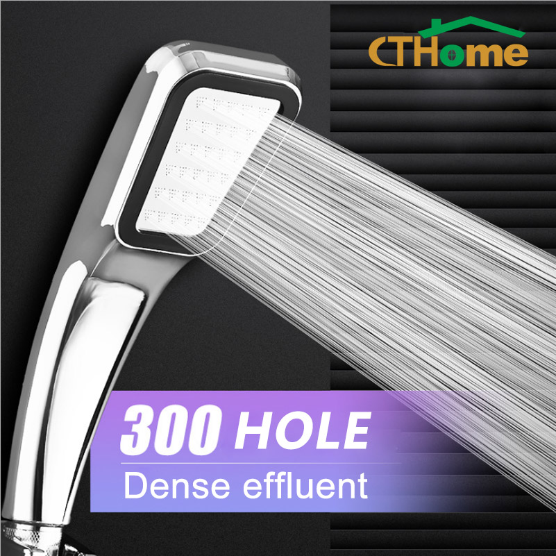 CTHome 300 Hole Square High Pressure Bathroom Rainfall Shower Head Handheld Shower Water Saving Shower Head Filter Sprayer Head