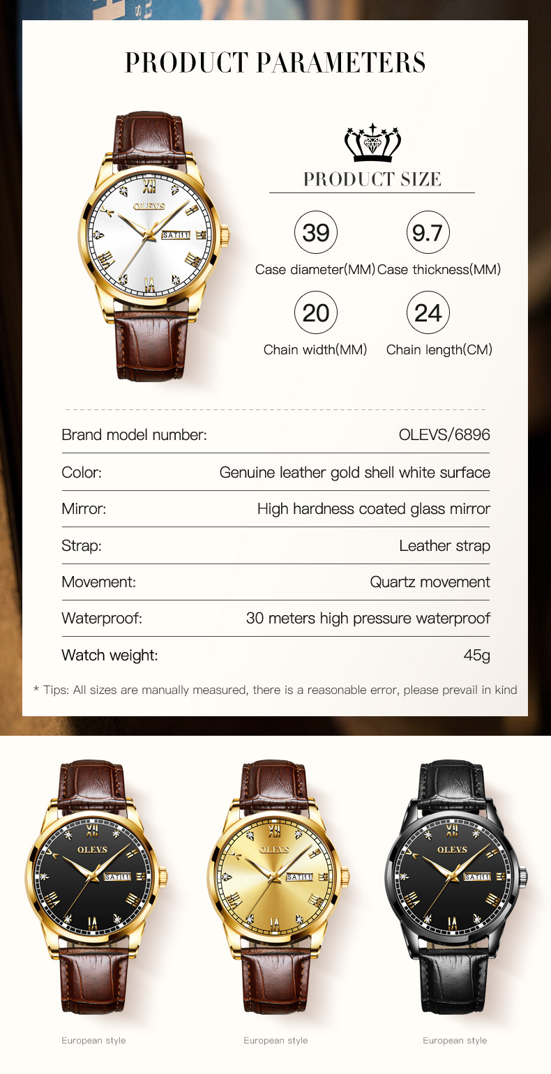 Olevs 6896 Leather Watch for Men 10