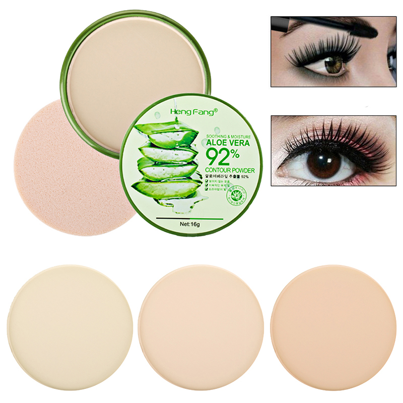 Natural Aloe Vera Foundation Powder LongLasting Face Compact Powder Makeup Moisturizer Whitening Smooth Foundation Concealer image