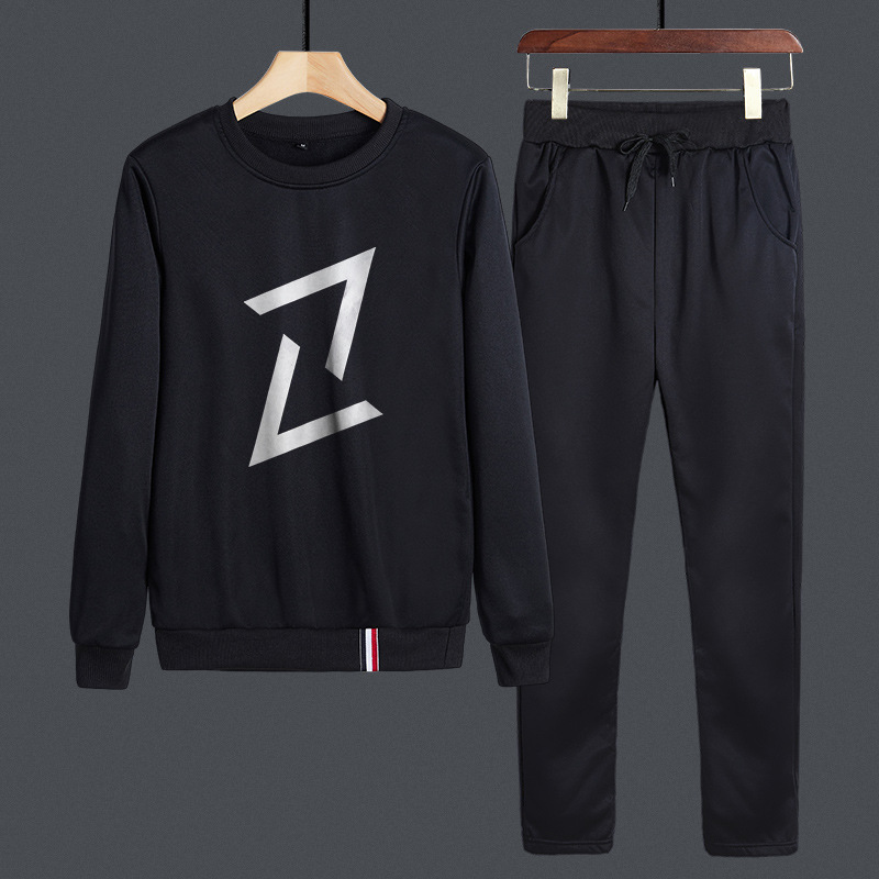 Hoodie Men's Autumn New Style Men Crew Neck Set Collocation Handsome Cool Casual Sports MEN'S Hoodie Two-Piece Set