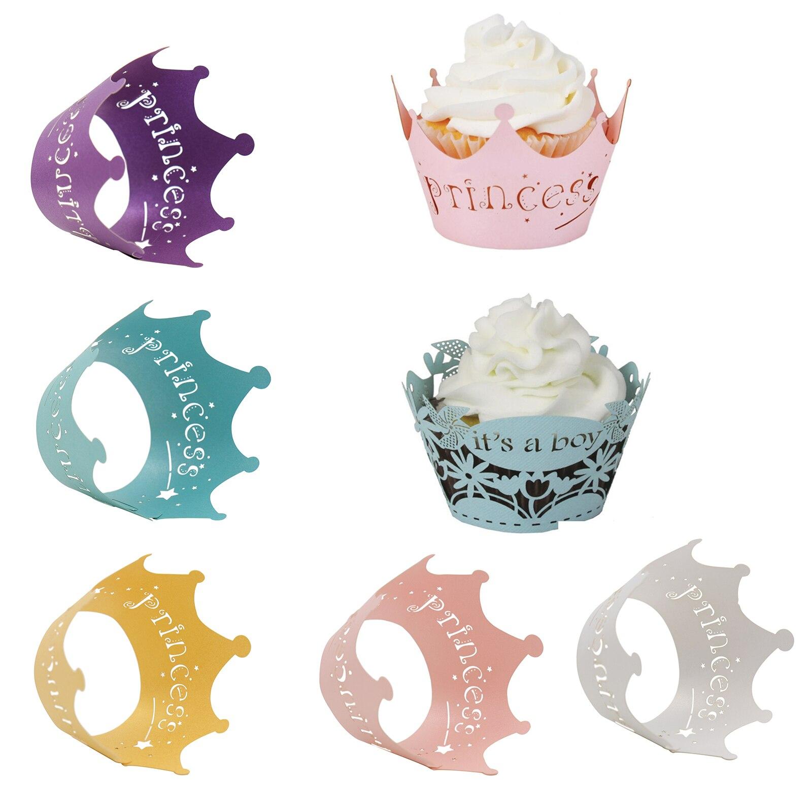 10 unidades/pacote rosa recorte princesa copo de papel festa de aniversário bolo de renda papel corte a laser celebração decoração envoltório envolve cupcake caso