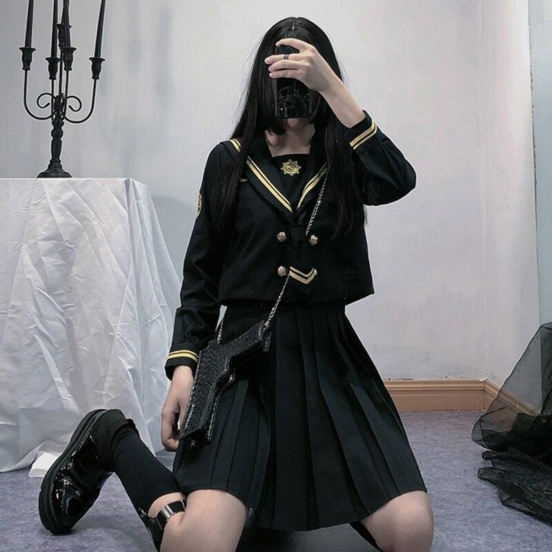 UPHYD Anime School Uniform Cosplay Navy Sailor Uniforms Korean Style Kawaii Girl Cosplay Student Uniforms