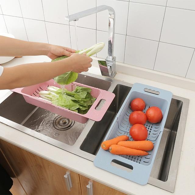 Adjustable Dish Drainer Sink Drain Basket Washing Vegetable Fruit Plastic Drying Rack Kitchen Accessories Organizer H1235 3