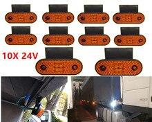 Luz de marcador lateral vermelha 10x 4led 24v, lâmpada traseira de apuramento para caminhão, barcos captáveis com suporte
