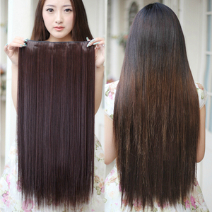 Soowee 24inch Synthetic Hair Straight Brown Clip In Hair Extensions Women Headwear Hairpins False Strands One Piece Hair