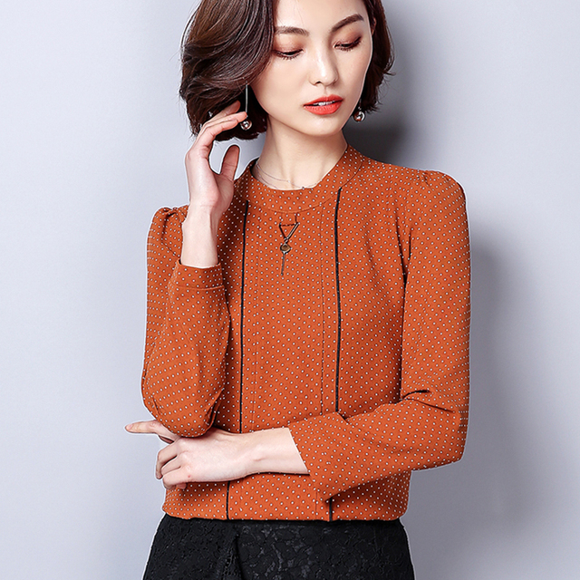 Polka Dot Shirts Woman Clothes Long Sleeve Chiffon Blouse Women 2020 Spring Tops New Button Blouses Casual Black Chemisier Femme 3