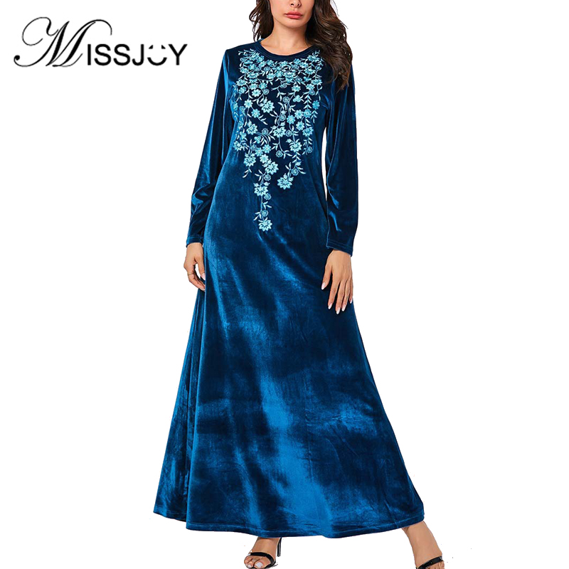 MISSJOY Velvet Dress Muslim 2018 Women New Abaya Winter Kimono Embroidery Turkey Islamic Long Sleeve  Maxi Dress Moroccan Kaftan