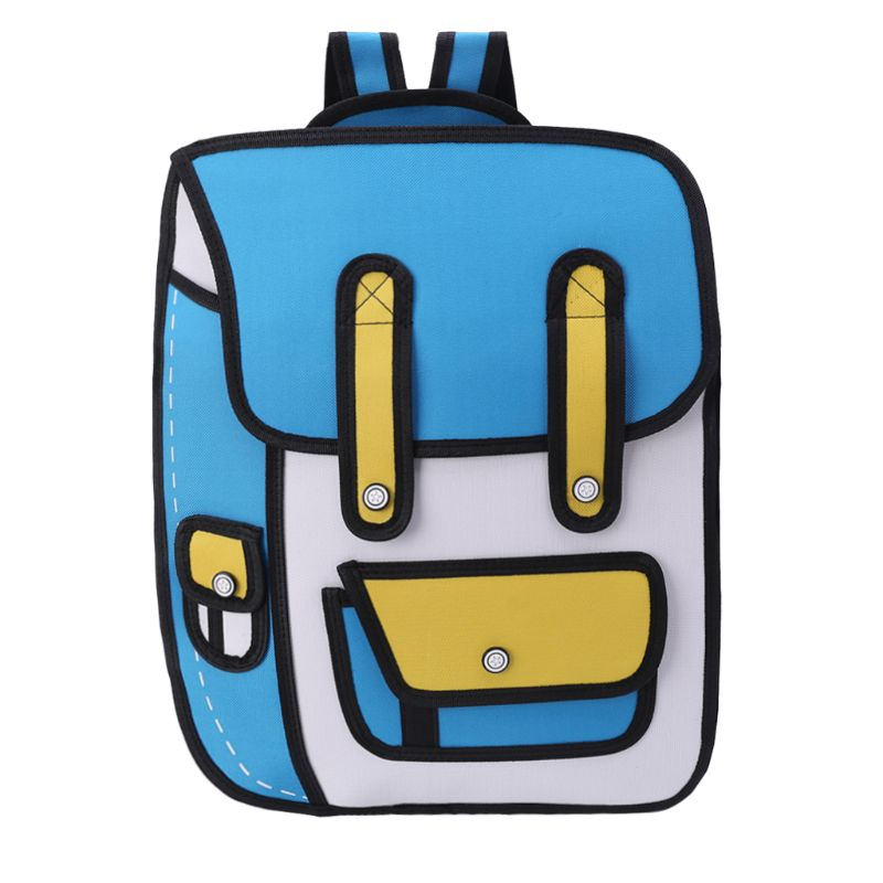 3D Jump Style 2D Drawing From Cartoon Paper Backpack Shoulder Bag Comic Bookbag
