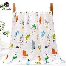 Lets Make 1PC Baby Bedding Blankets Unicorn Fox Dinosaur Newborn Stroller Wrap Muslin Infant Swaddle Soft Knitted