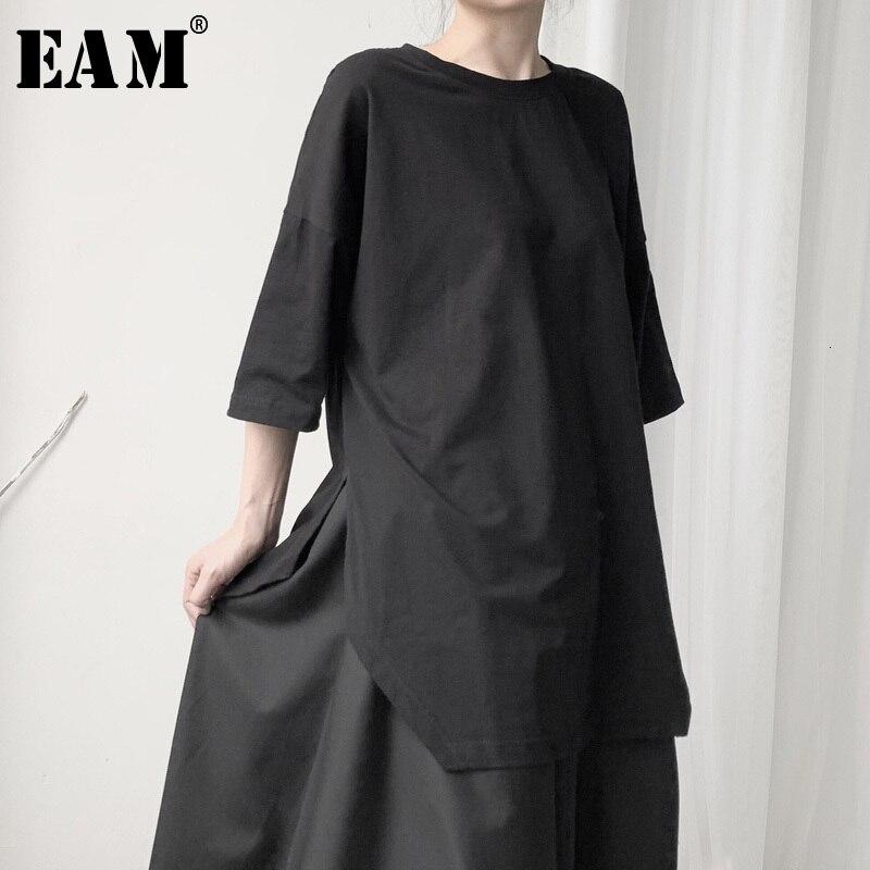 [EAM] Frauen Schwarzen Saum Entlüftungs Große Größe T-shirt Neue Runde Neck Drei viertel Sleeve Fashion Flut Frühjahr herbst 2021 19A-a628