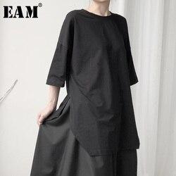 [EAM] Women Black Hem Vent Big Size T-shirt New Round Neck Three-quarter Sleeve Fashion Tide Spring Autumn 2021 19A-a628