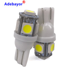 Adebayor 10 pièces T10 W5W LED ampoule 5 SMD LED blanc 194 168 Super lumineux cale lumières ampoules 12V 5050 SMD(China)