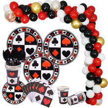 Casino Decorations Playing Card Poker Card Banner Balloons Decor tableware Game Party Supply(China)
