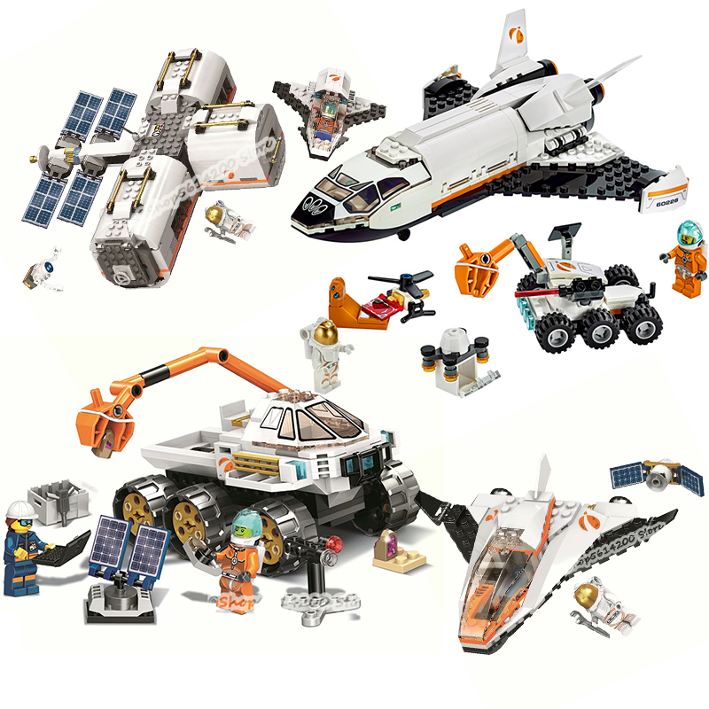 The New Moon Space Station Rover Test Drive Compatible Lepining City 60224 60225 60227 60226 Building Block Children's Toy Gift