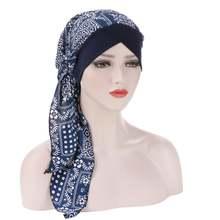 Модный мусульманский тюрбан с длинным хвостом шапки для женщин