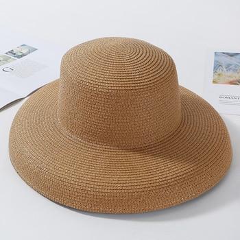 HT2303 New Summer Sun Hats Ladies Solid Plain Elegant Wide Brim Hat Female Round Top Panama Floppy Straw Beach Hat Women 13