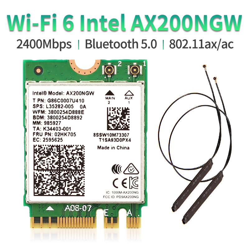 Dual Band 2.4Gbps Intel Wi-Fi 6 AX200NGW 802.11ax/ac MU-MIMO 2x2 Wifi AX200 NGFF M.2 Bluetooth 5.0 Network Wlan Card+Antenna