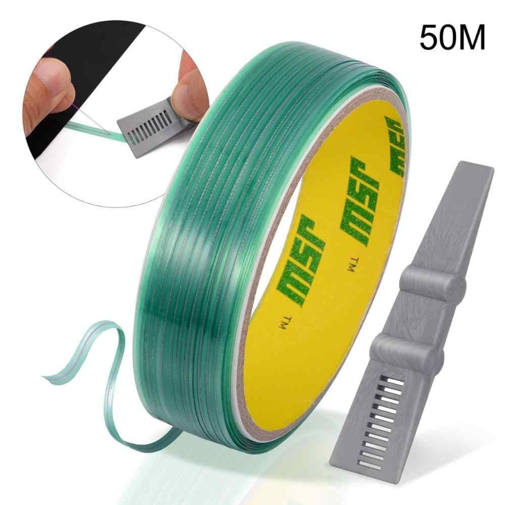 Ehdis 50M Mobil Wrap Vinyl Cutting Tape Tanpa Pisau Garis Desain Karbon Stiker Film Pembungkus Pengikis Squeegee Alat Pemotong Aksesori