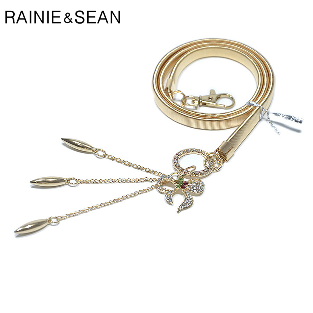 RAINIE SEAN Elastic Gold Belt Metal Thin Chain Belts for Women Butterfly Brand Ladies Rhinestone Dress Belts Designer Belt