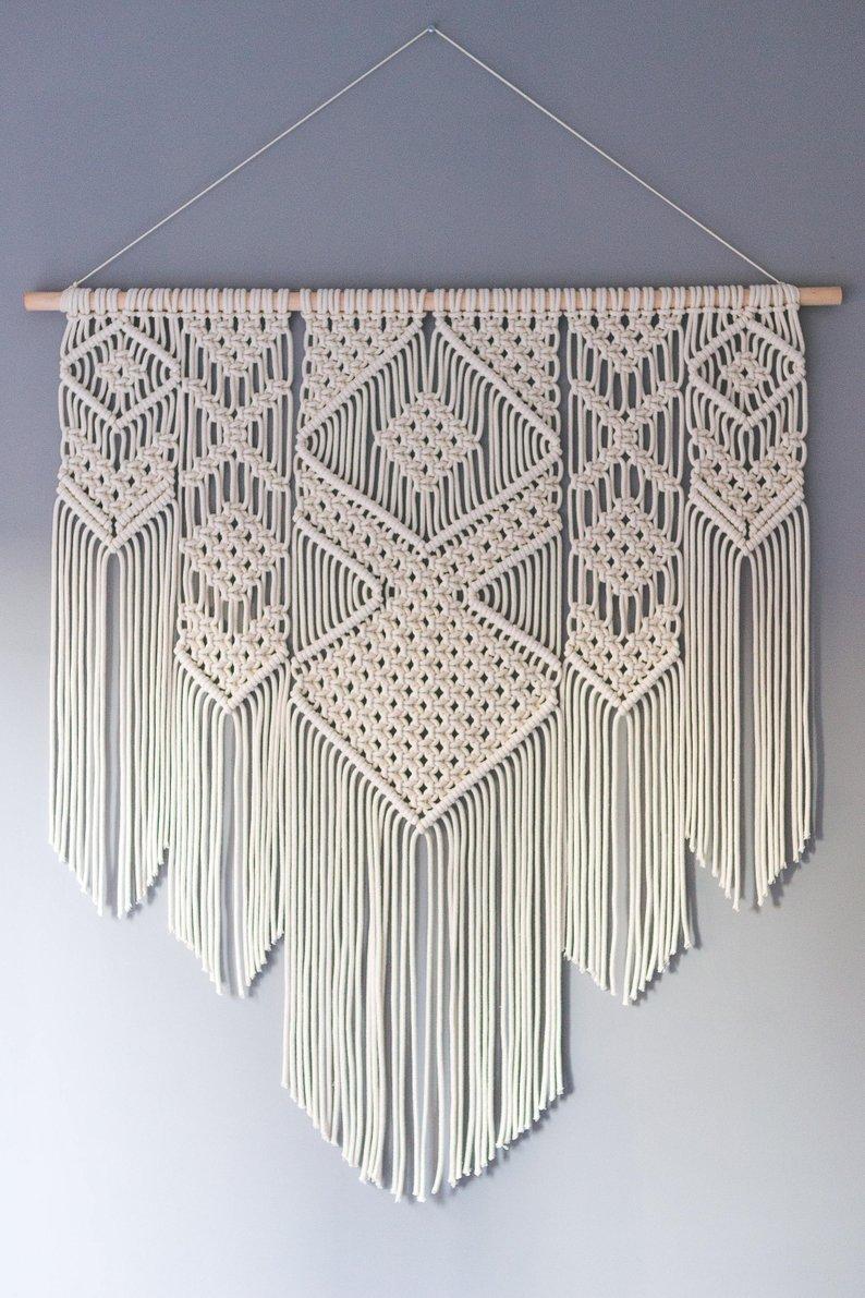 Bohemian wandtapijten boerderij home decor nordic macrame muur opknoping wandtapijten bloem van leven creative breien muur deken - 3