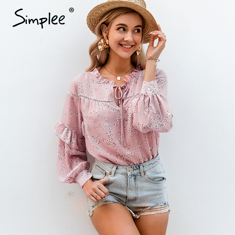 Simplee Ruffled V-neck Blouse Shirt Women Flower Print Hollow Out Female Top Shirt Lantern Sleeve Lace Up Casual Ladies Blouse