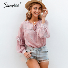 Blouse Shirt Simplee Lace-Up Lantern-Sleeve V-Neck Flower-Print Ruffled Female Casual