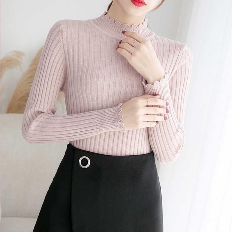 Harajuku Musim Gugur Wanita Sweater Rajut Solid Pullovers Musim Dingin untuk Wanita Ramping Berwarna-warni Lembut Sweater Kasual Elastis Tops Jumper Wanita