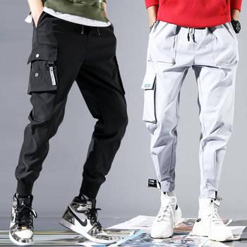 Męskie spodnie hip-hopowe spodnie Cargo S-XXXL człowiek Patchwork kombinezony japońska moda uliczna spodnie joggery mężczyźni projektant spodnie Harem tanie i dobre opinie Acacia Person Cargo pants Mieszkanie Poliester COTTON Kieszenie Luźne 28 - 40 424535 Na co dzień Midweight Suknem Kostki długości spodnie