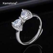 Kemstone Бабочка бант сладкий циркон серебристый цвет регулируемый манжет Кольцо женское ювелирное изделие подарок