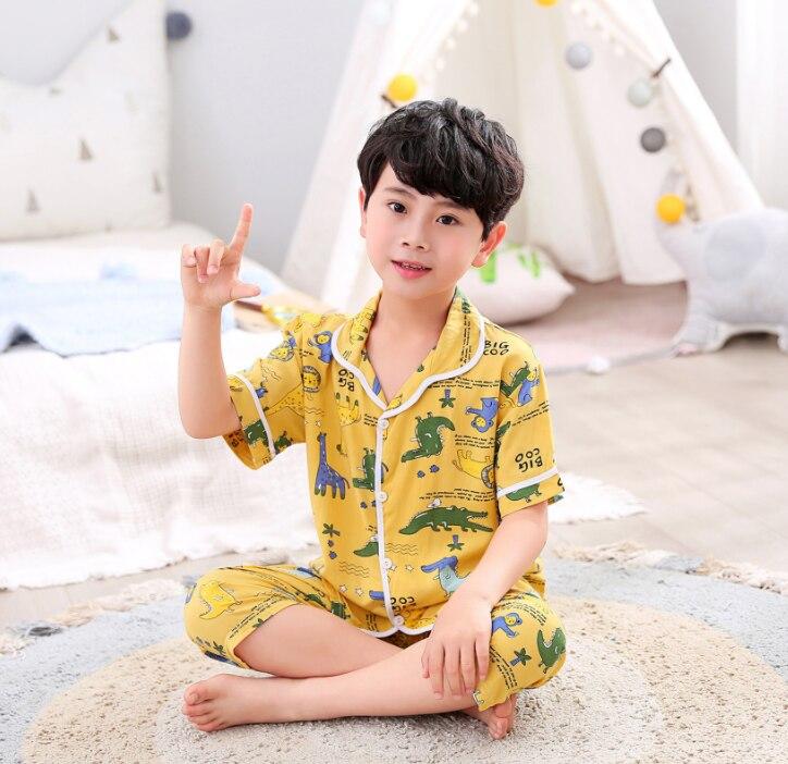 Pijama de niño, blusa, Tops + Shorts, ropa de dormir, pijamas para niños, conjuntos de pijamas de bebé, conjunto de trajes estampados con dibujos de ciervos para niños y niñas
