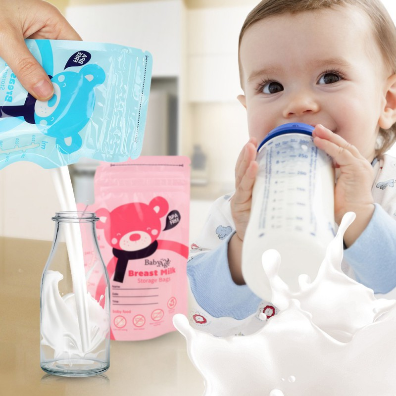 30Pcs/Pack 250ml 4 Colors Baby Food Storage Breast Milk Storage Bags High Quality BPA Free Solid Feeding Baby Liquid Food Bags