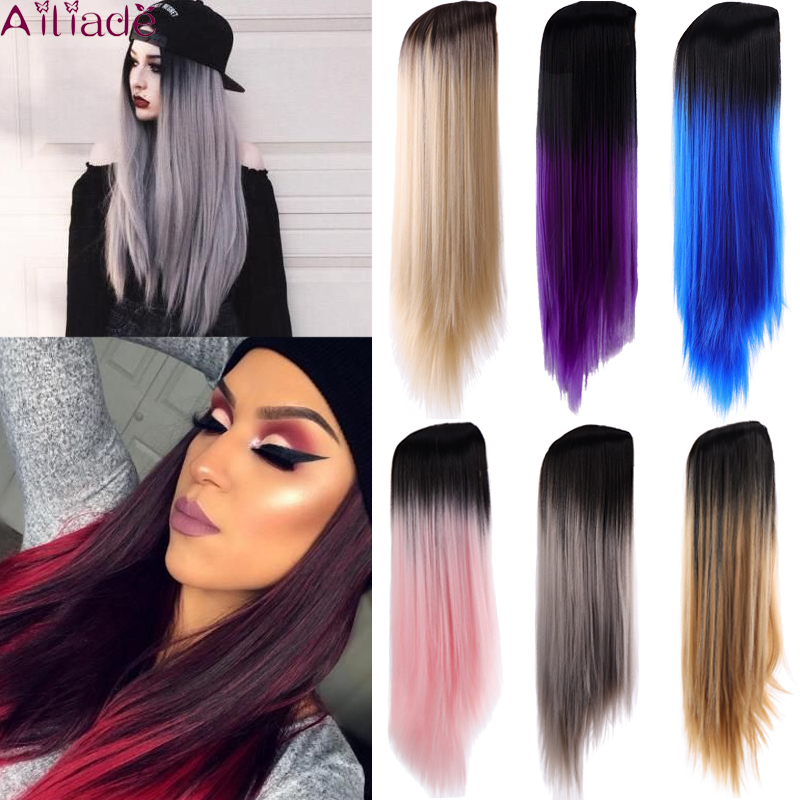 AILIADE Ombre Pink/Purple Middle Part Straight Longth Heat Resistant Synthetic Wigs Hair For Black White Women Cosplay Or Party