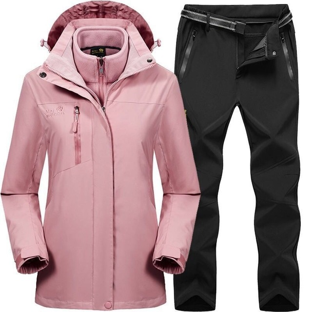 2019 Men Women Winter Autumn Detachable Hike Fish Camp Trekking Ski Climb Jackets Suit Fleece waterproof Pants Belt Trousers 3